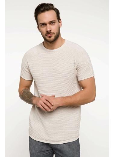 DeFacto Sıfır Yaka Slim Fİt Triko T-shirt Bej